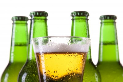 Beer bottles and a glass