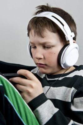 Middle school boy with headphones