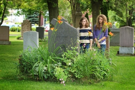 Girls at graveyard